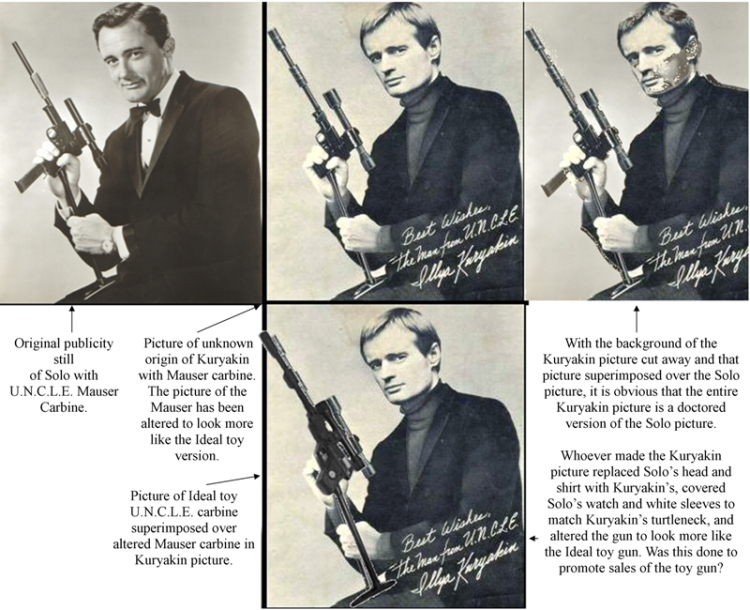 Picture showing the alteration of a Solo and Mauser carbine publicity photo to a Kuryakin toy gun marketing picture